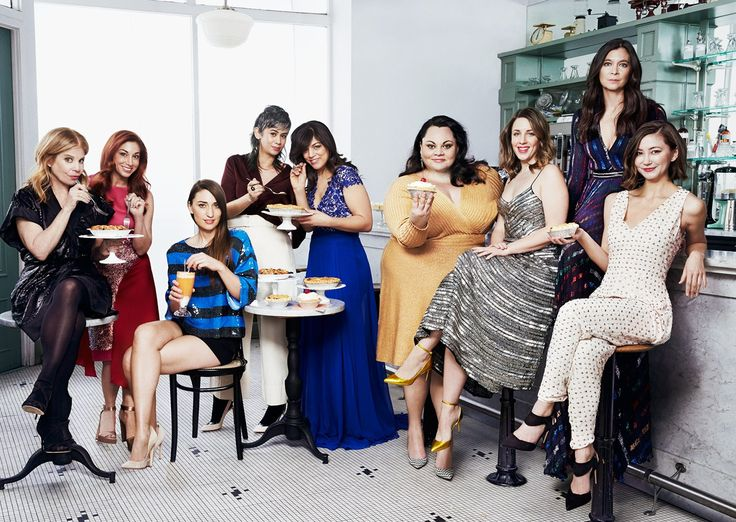 Jessie Nelson, Lorin Latarro, Sara Bareilles, Suttirat Anne Larlarb, Nadia DiGiallonardo, Keala Settle, Jessie Mueller, Diane Paulus, and Kimiko Glenn, photographed at Hamilton's Soda Fountain & Luncheonette, in New York City. Photograph by Danielle Levitt.