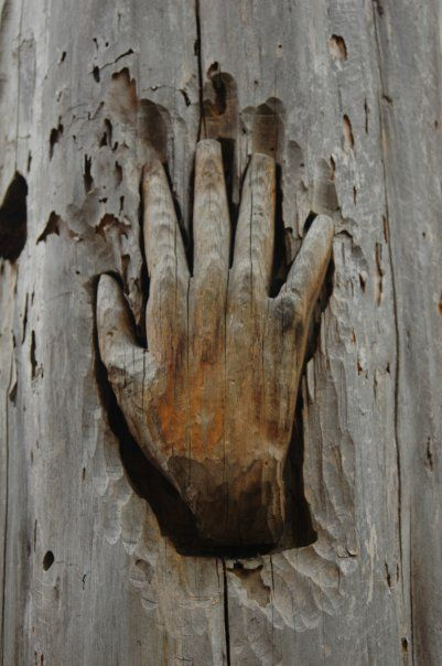 Carved hand in tree