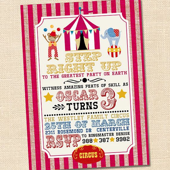 Best 25+ Circus party invitations ideas on Pinterest | Circus ...