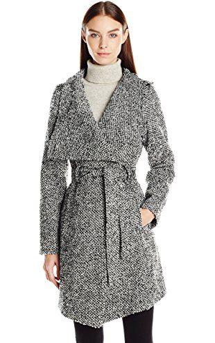 GUESS Women's Tweed Wool Water Resistant Wrap Coat, Black/White, M ❤ GUESS Apparel (GIII)