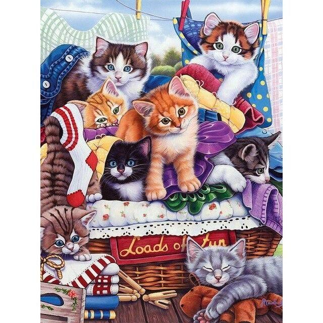 Animal Cat 5D Diamond Embroidery DIY Painting Cross Stitch Mosaic Home Decor