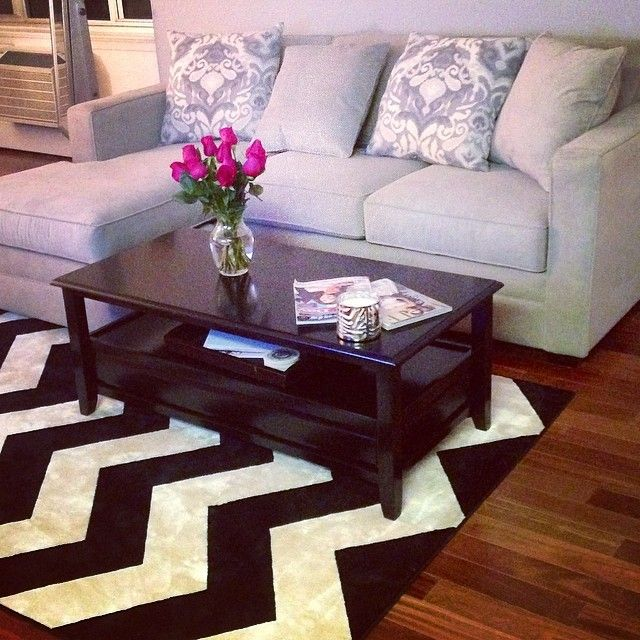 classy!! i have a similar rug and i need a new coffee table, i like this one :)
