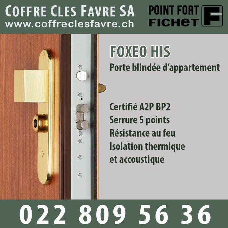 Bloc-porte d'appartement Foxeo HiS certifié A2P BP2. Il dispose d'une serrure 5 points dont 4 pênes crochets certifiée A2P 3* 10% de réduction + 1 caméra WIFI OFFERTE Devis GRATUIT et sans engagement ! #Porte #Pointfortfichet #Geneve #securite