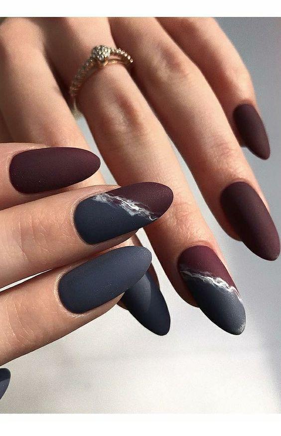 grey burgundy nails in 2019