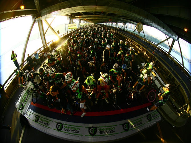 Some 5,000 riders set off on the 110-mile voyage at Gran Fondo NY
