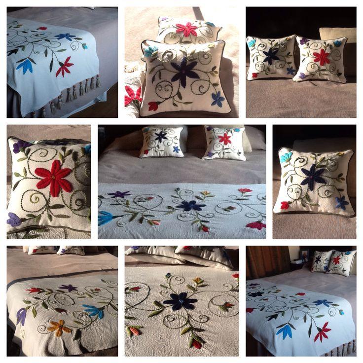 Pie de cama y almohadones. Ines Etcheberry www.facebook.com/bordados.ines1