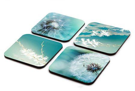 Coaster set of 4 dandelion photography wooden coasters art designer coasters