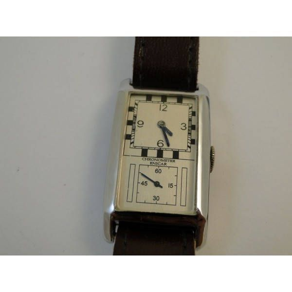 rare mens art deco enicar rectangular doctors watch restored serviced ready to wear on the band by Bohemianwatchsource on Etsy