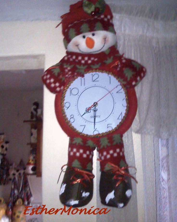 reloj navideño hecho en paño lenci y polar - manosalaobratv