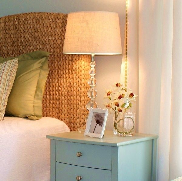 Graceful Seagrass Headboard With Blue Nightstand