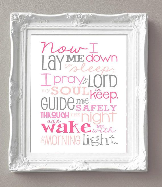 Check out DIGITAL FILE - Now I Lay Me Down Prayer – Girl – Bedroom – Newborn Girl – Pink and Gray - Christian Art - Baptism Gift - Christening Gift on libertyandlilacpaper