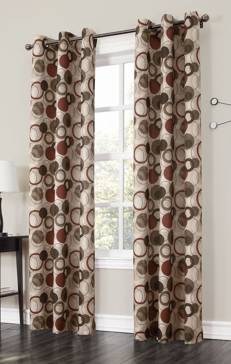 The Jupiter Grommet Curtains has a large scaled multi color modern interlink circle pattern. #Grommet #Panels