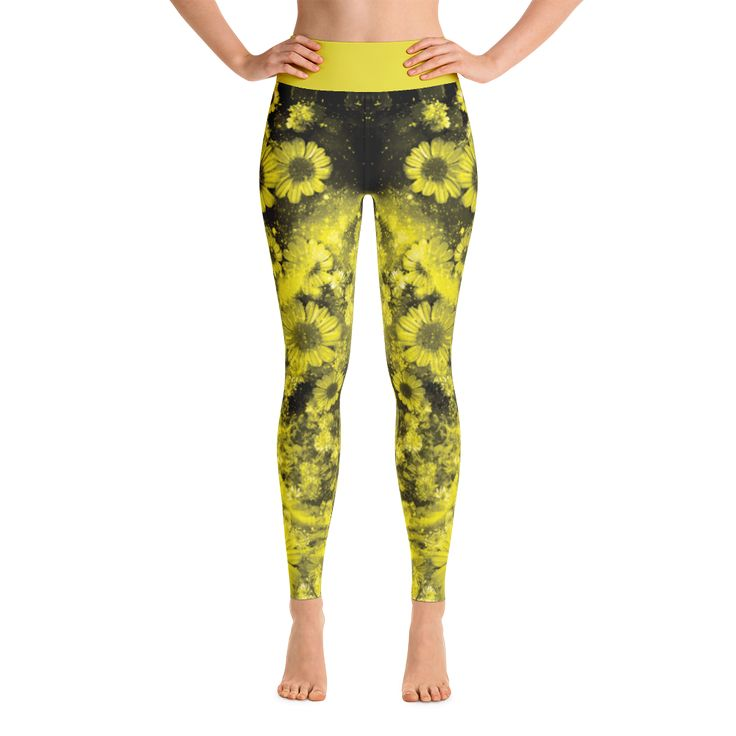 Yoga Leggings,Leggings Women Yellow Floral Design Galaxy Pattern Print Exercise Pants Active Wear