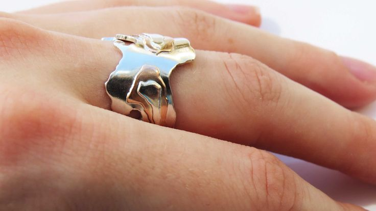 Commission Landscape Ring  Sterling silver, 9ct pink gold