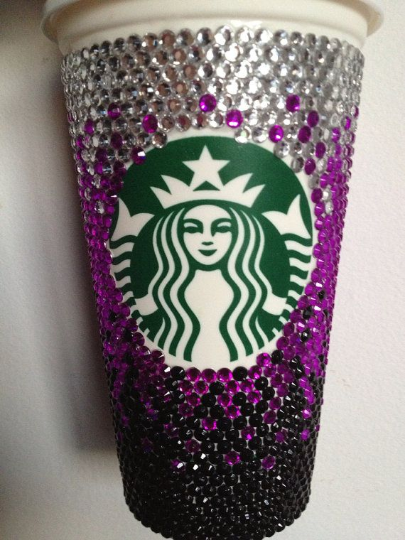 Multi Color Custom Starbucks Coffee Cup by CraftyClaire10 on Etsy, $25.00