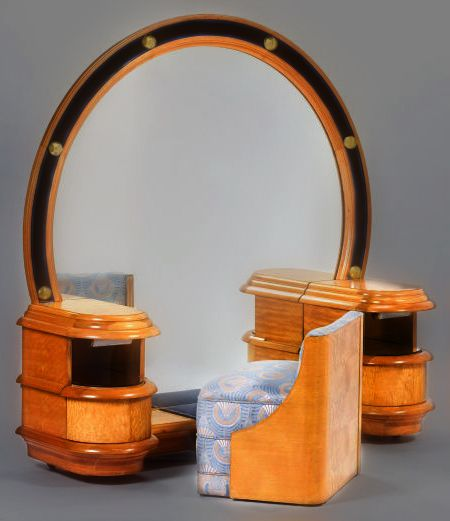 AMERICAN ART DECO BURL WALNUT LIGHTED MIRROR VANITY AND UPHOLSTERED STOOL Circa 1935