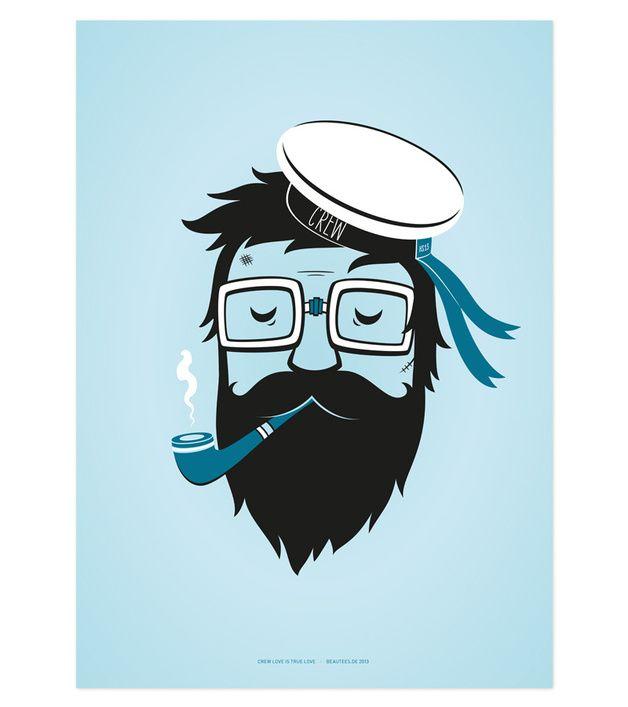 """Originaldruck - Poster """"Seemann ohne Namen"""" 50x70 - ein Designerstück von beautees bei DaWanda"""