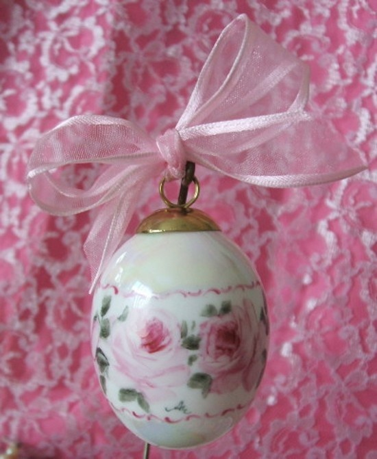 Hand Painted Pink Roses Christmas Egg Ornament-Hand Painted, Roses, Pink, Perfume, Vanity, Shabby, Pink,Christmas, Ornament, Porcelain, China,