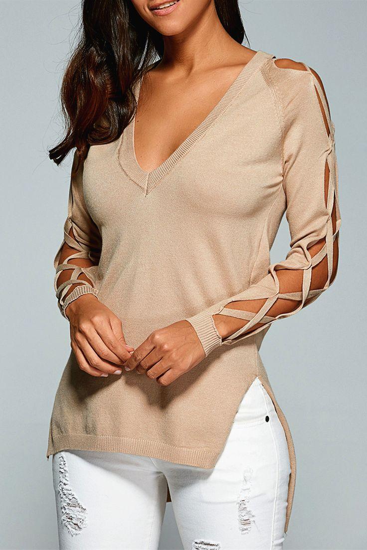 $18.88 V Neck Cutout Sleeve Sweater