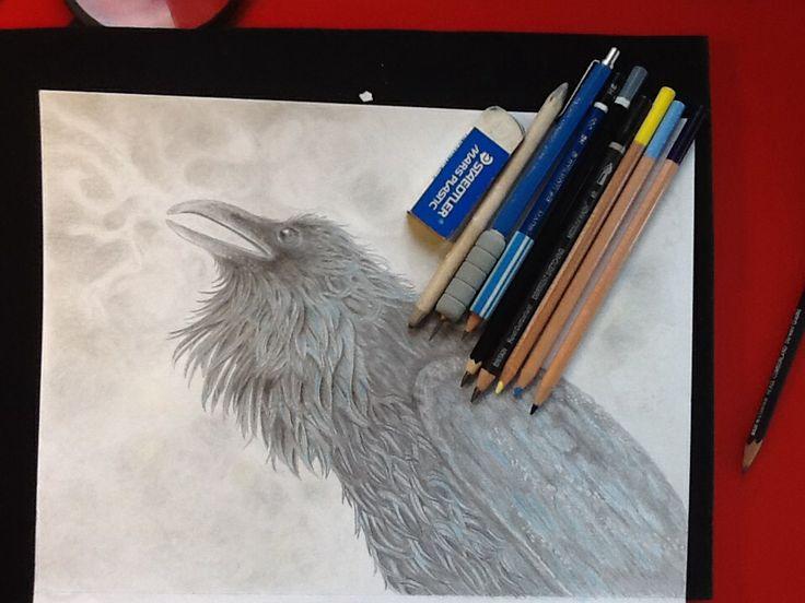 Raven Song: pencil & colored pencils