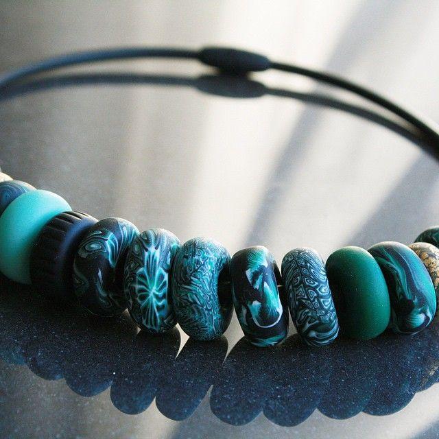"""Patterns/Circles"" hybrid necklace. #studiohannaenander #she #jewellery #jewelery #jewelry #smycken #handmade #handgjort #polymerclay #polymer #clay #polymerlera #artsandcrafts #arts #crafts #necklace #halsband"