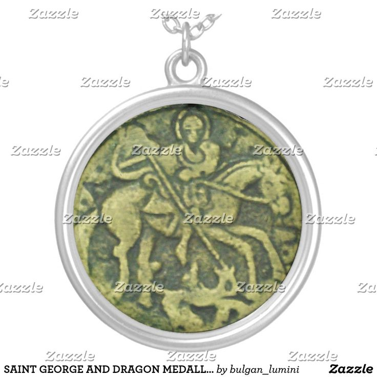 SAINT GEORGE AND DRAGON MEDALLION SILVER PLATED NECKLACE #stgeorge #knight #medieval #antique #jewelry #religious