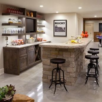 Transitional Bar With Stacked Stone Island and Open Shelving | HGTV