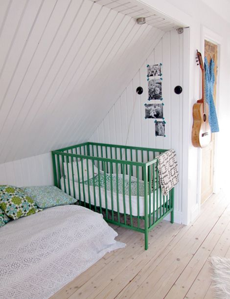 Corner crib: Corner Cribs, Green Beds, Cribs Colors, Bright Green, Attic Rooms, Green Cribs, Green Cots, Floors Upstairs, Colors Cribs