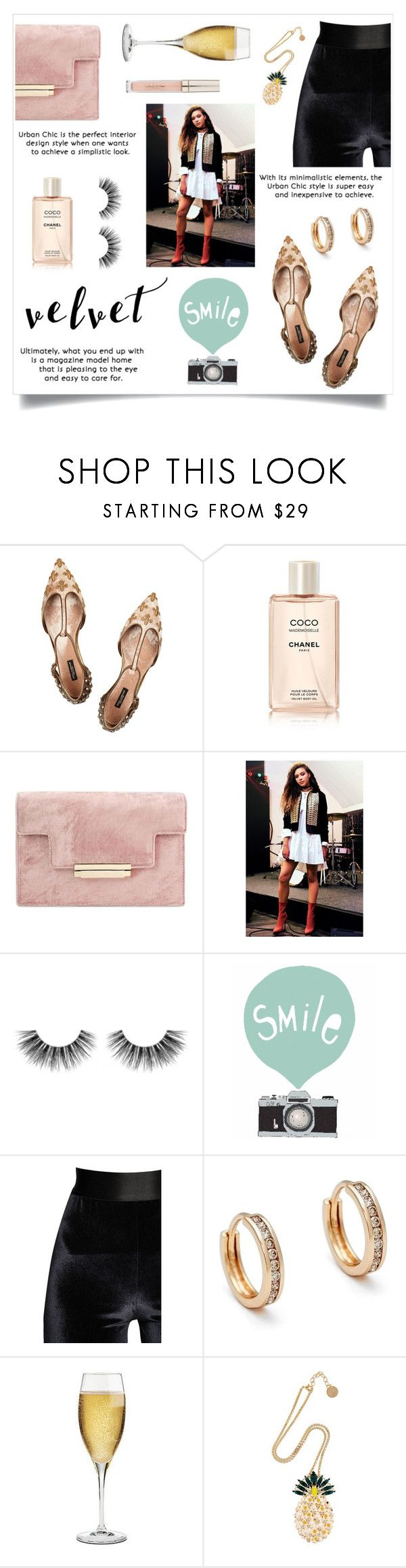 """""""Velvet"""" by linmari ❤ liked on Polyvore featuring Dolce&Gabbana, Chanel, Boohoo, Velour Lashes, Seventy Tree, Faith Connexion, Anna Sheffield, Riedel, Anton Heunis and Stila"""