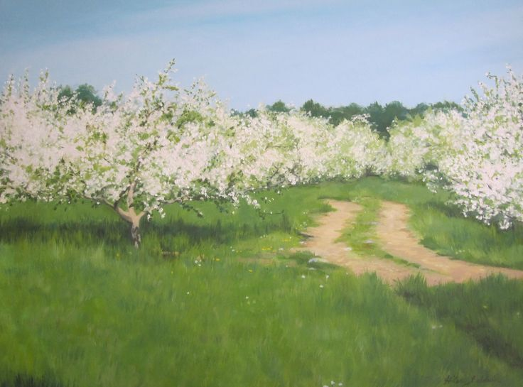 Apple Orchard, oil painting by Hilary Baldwin