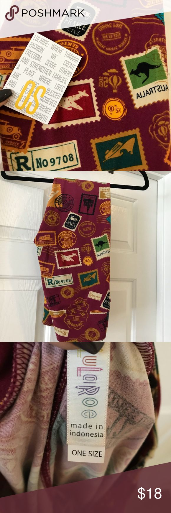 OS Lularoe leggings postage stamp EUC. Buttery soft leggings. One Size fits sizes 2-12. Bundle and save! Can see slight pilling in crotch area- price reflects. Cranberry background with postage stamps. LuLaRoe Pants Leggings