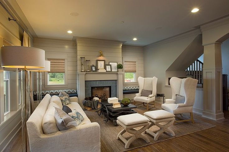 The fireplace wall will have shiplap on it similar to this picture (around the windows)
