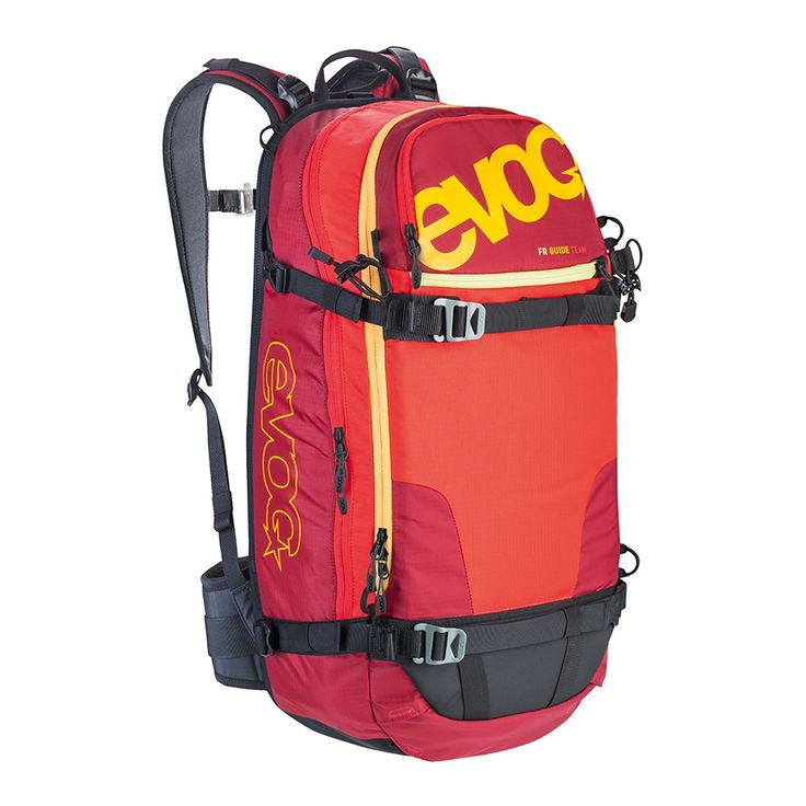 Evoc FR Guide Team 30L, one of my favorite backpacks, clever straps (great for snowboard attachement), lots of room (shovel/probe, poles, packable down vest, 1L water, spare goggles/gloves, etc.) and great feeling (eg you dont even think of it even when it's packed with gear)