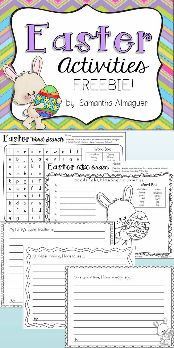 """This FREEBIE includes 6 pages of Easter fun for grades 1-3! These activities can be used for seat work, homework, or as a center activity. Enjoy!   It includes: - Easter Word Search - Easter ABC Order (simple) Writing Prompts:  - """"Our family's Easter tradition...""""  - """"On Easter morning, I hope to see...""""  - """"Once upon a time, I found a magic egg..."""" - Easter Acrostic Poem #easter #easteractivities:"""
