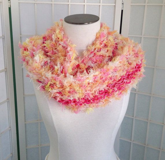 Cotton candy pastel hand knit multi yarn scarf by EvadesignsMaine