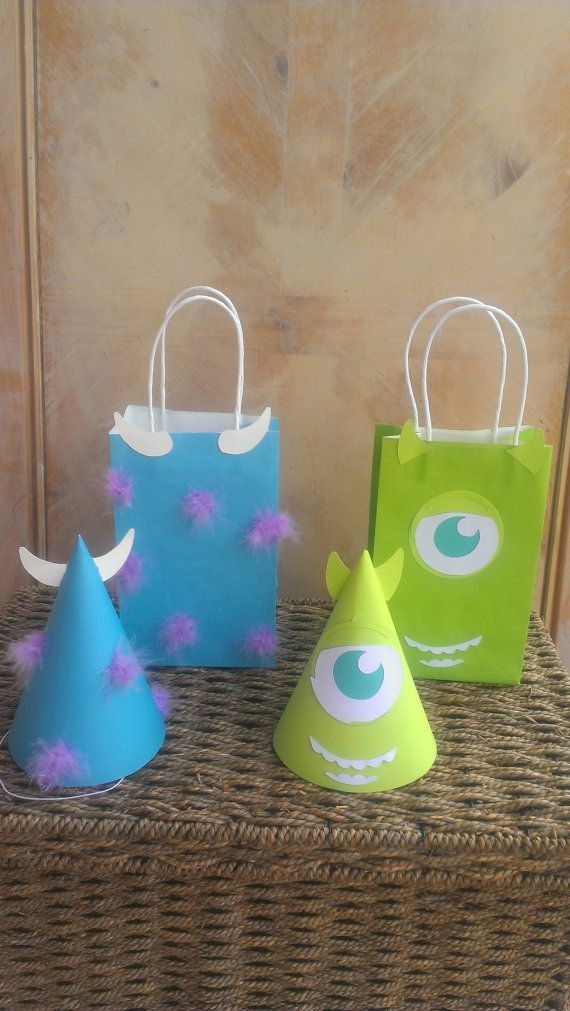Monsters Inc Birthday Party Bag and Hats by MagicalBoutique, $24.00  https://www.etsy.com/listing/155563090/monsters-inc-birthday-party-bag-and-hats?ref=shop_home_active