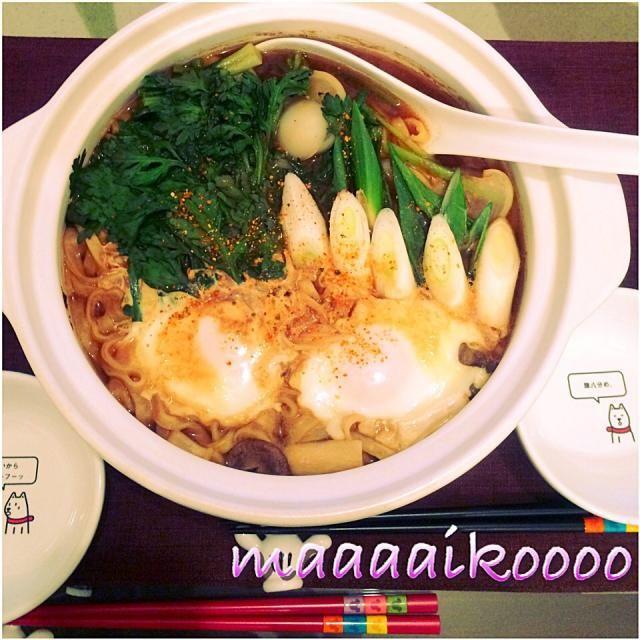 野菜色々いっぱい(๑´ڡ`๑) - 46件のもぐもぐ - 月見野菜味噌煮込みうどん by maaaaikoooo