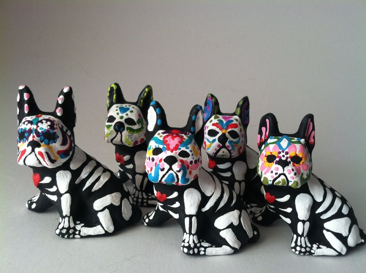 Day of the Dead Boston Terrier Dog Sugar Skull pet memorial Dia De Lois Muertos sculpture Dog skeleton Halloween decor by SpiritofAine on Etsy