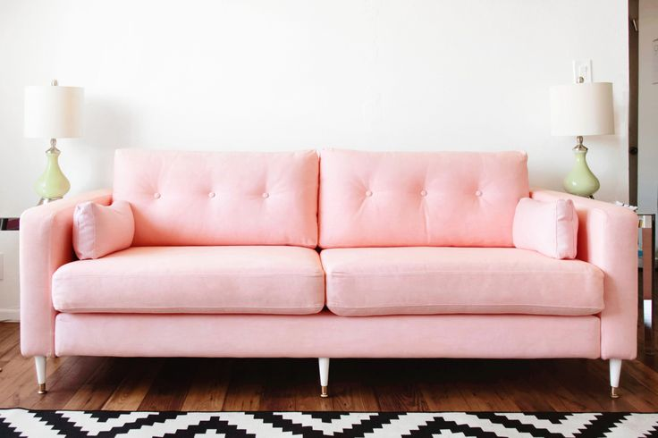 KARLSTAD SOFA IKEA HACK: Mid-Century Inspired Pink Sofa | Home ...
