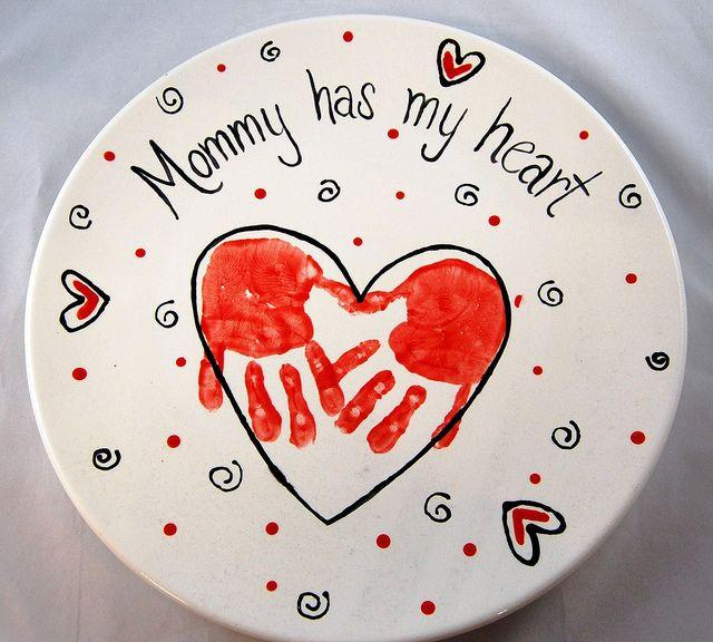 heart handprint mothers day platter