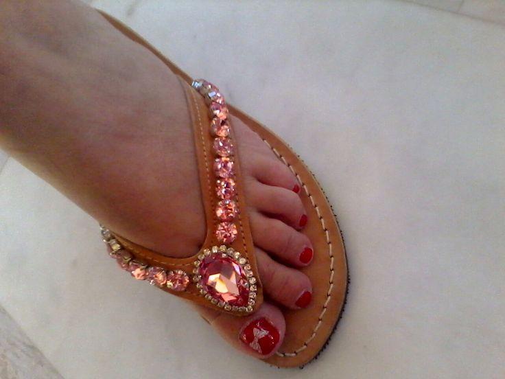 handmade sandals with swarovski crystals