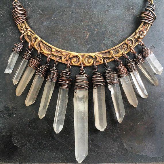 Raw Crystal Necklace Raw Quartz Statement Necklace Wire Wrap Necklace Crystal Bib Necklace Rustic Jewelry DanielleRosebean Cyber Monday