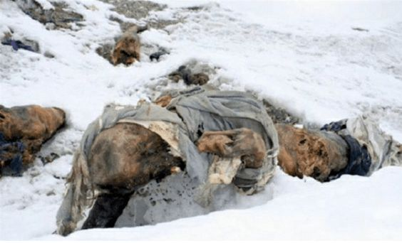Dead Bodies on Mount Everest - many perfectly preserved bodies lie on top of Mount Everest