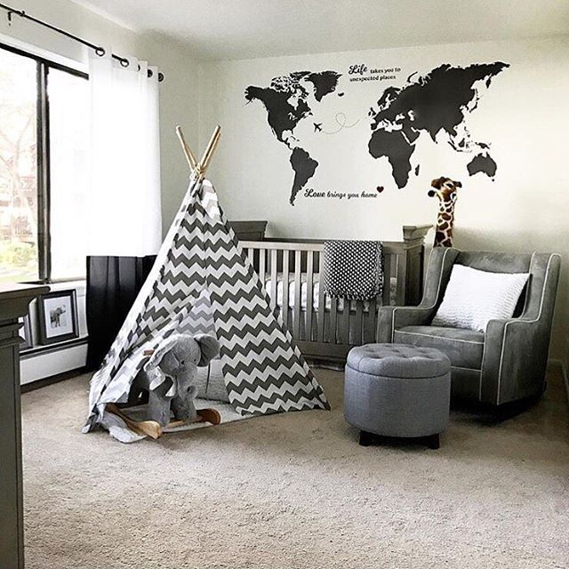 192 best black and white rooms images on pinterest nursery ideas andrews gray safari nursery world map decalworld gumiabroncs Image collections