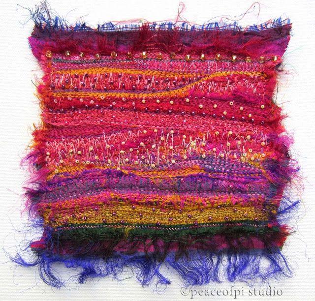 Sari Silk Beaded Fiber Art Quilt   peaceofpi studio