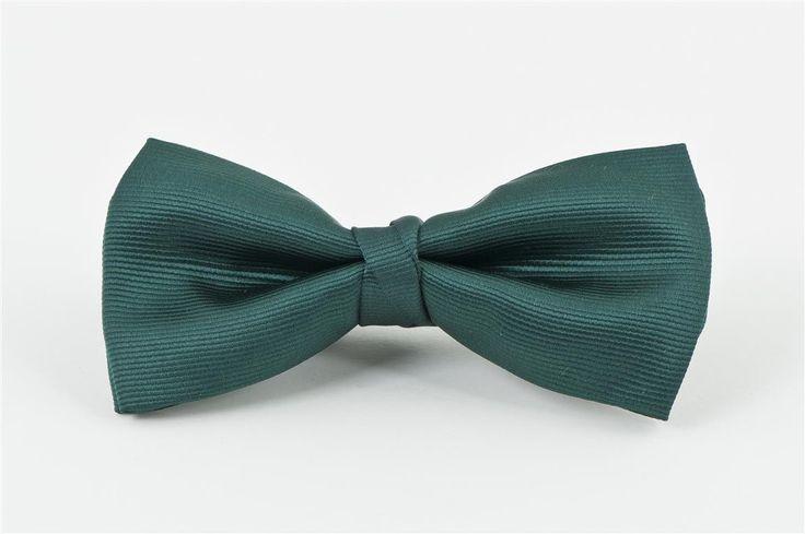 Bottle Green Self Stripe Bow Tie