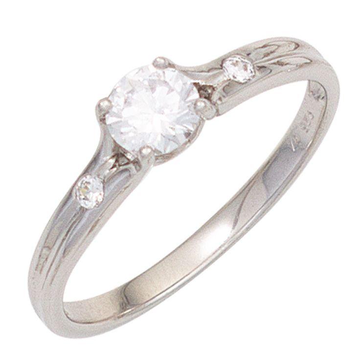 Damen Ring 333 Gold Weißgold 3 Zirkonia Goldring J42311
