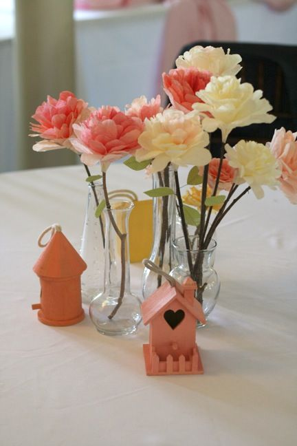 DIY tutorial: Coffee Filter Flowers :  wedding bird house centerpiece coffee filter diy paper flower IMG 2623