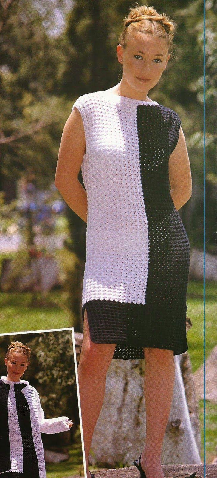 Vestido y Chaqueta a Crochet -> http://esquemas.ctejidas.com/2014/07/conjunto-vestido-y-chaqueta-bicolor.html