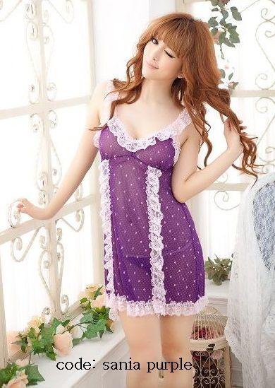 Kode Barang: Sania Purple price: Rp.110.000 bahan: katun poliester satu set : lingerie + G-string detail: * bahan molor * tembus pandang * comfy, tipis, adem dipake * muat sampai size L